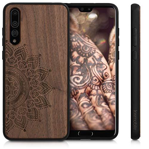 kwmobile Holz Schutzhülle für Huawei P20 Pro - Hardcase Hülle mit TPU Bumper Walnussholz in Aufgehende Sonne Design Dunkelbraun - Handy Case Cover - 5
