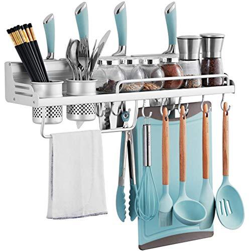WYZXR Estantes de almacenamiento de aleación de aluminio con ganchos para almacenar condimentos, palillos, cuchillos y cubiertos, disponibles en una variedad de estilos (color: plata, tamaño: 60 cm)