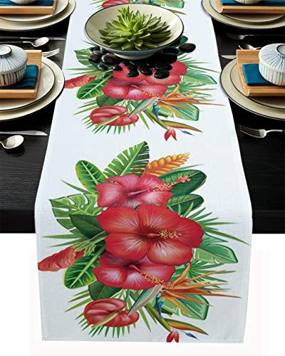 FAMILYDECOR Camino de mesa de arpillera de lino de 33 x 274 cm, camino de mesa de granja rojo antideslizante para fiestas de vacaciones, comedor, hogar, cocina, decoración de boda