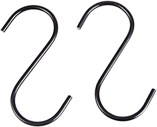 Fan-Ling 30Pcs S-Shaped Hanging Hooks Stainless Steel for Kitchen Bathroom Bedroom,Kitchen Hook Universal Stainless Steel s-Type Hook,Durable Anti-Rust,Black (B:30PCS)