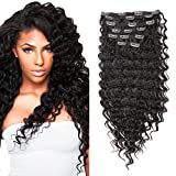 FASHION LINE Synthetic Deep Wave Curly Clip in Hair Extensions Double Weft Full Head Heat Resistance Thick Deep Wave Clip In 7 Pieces(24' Deep Wave, #2 Dark Brown)