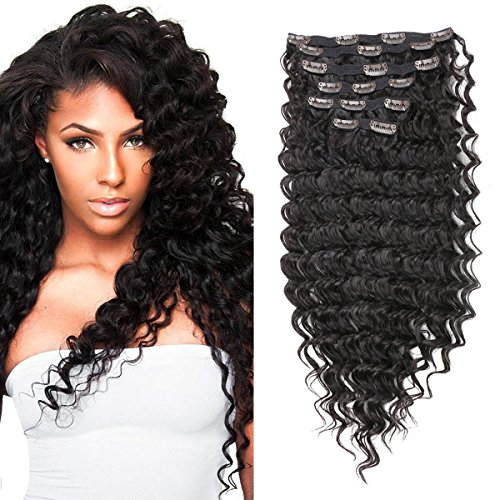 FASHION LINE Synthetic Deep Wave Curly Clip in Hair Extensions Double Weft Full Head Heat Resistance Thick Deep Wave Clip In 7 Pieces(24