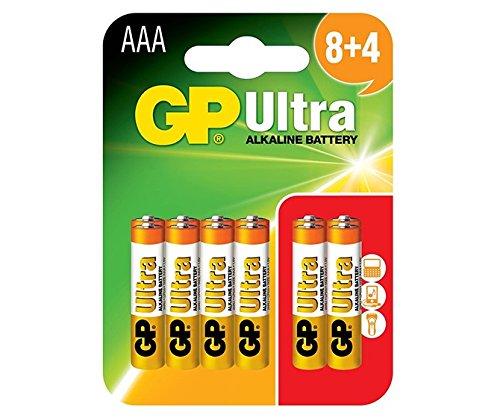 GP Batterien Ultra Alkaline AAA Karte von 12 | Hervorragende Betriebszeit | Batterie kann über alle Geräte verwendet Werden | Haltbarkeit bis zu 7 Jahre
