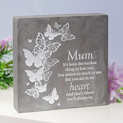 Thoughts of you Mum Concrete Stone Remembrance Graveside Memorial Ornament
