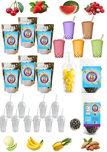 The ULTIMATE DIY Boba / Bubble Tea Kit, 60+ Drinks, 6 Flavors, Boba Pearls, Cups, Straws and Shaker (CLASSIC)