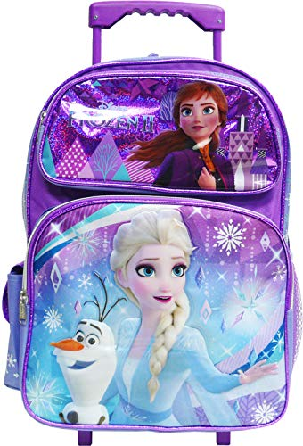 "Disney Frozen 2 Elsa & Anna Kids Backpack 16"" Rolling/Roller Large Bag 20225"