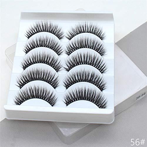 KADIS 5Pairs 3D False Eyelashes Extension Natural Thick Long Fake Eye Lashes Wispy Women Makeup Beauty Tools,56