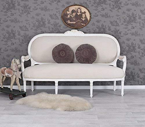 Gigantisches Rokoko Sofa, Diwan, Kanapee, Ottomane, Liege - Madame Pompadour - mit königlichem Ambiente im Rokoko-Stil in Weiß - Palazzo Exclusive