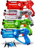 DYNASTY TOYS Family Laser Tag Set for Garden Shooting Games - 4 Lazer Tag Blasters and 1 Target Robot Bug - Laser Tag Guns for Kids and Adults - Transparent Special Edition