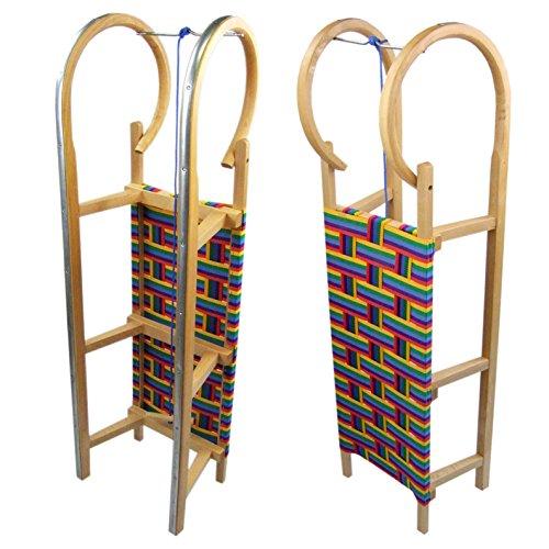 Babys-Dreams BAMBINIWELT Holzschlitten Hörnerrodel mit Zugseil, Sitzfläche aus Kunstfasern im Regenbogendesign,100cm