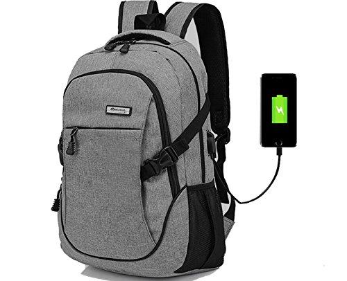 Doingbag Laptop-Rucksack, Business-Look, leicht, wasserfest, zum Wandern, Camping, Outdoor, grau