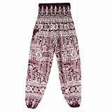 Amanod Womens Thai Harem Trousers Boho Hippy Smock High Waist Yoga Pants
