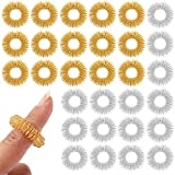 WellBrite Acupuncture Massage Fidget Toy Sensory Rings (Gold and Silver, 30 Pack)