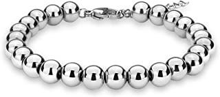 Jewelry Wedding Bridal Stylish Beaded Bracelet in Stainless Steel Great for Women Men Young Adults Silver/Gold Plated/Rose Gold Plated