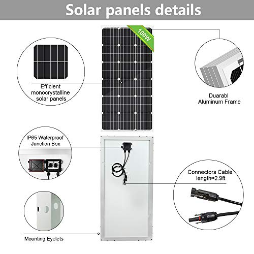 ECO-WORTHY-100Watts-Monocrystalline-Solar-Panel-of-12Volts-Applicable-for-Motorhome-Boat-Shed-Caravan-Motorhome-Off-Grid-Solar-Power-System-Backup