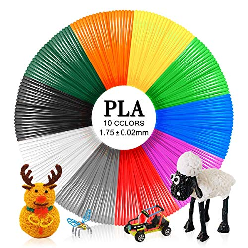Penna 3D PLA Filament 1.75mm, 3D Pen Refills PLA Filament for 3D Printing 10 Colors 5 Meters, Enotepad PLA Refills Fit All 3D Printing Pen