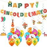 29 PCS Mexican Carnival Decoration Cinco De Mayo Party Banner Mexican Fiesta Hanging Swirls Balloons Ornament Mexican Fiesta Taco Theme Cinco de Mayo Baby Shower Party Supplies