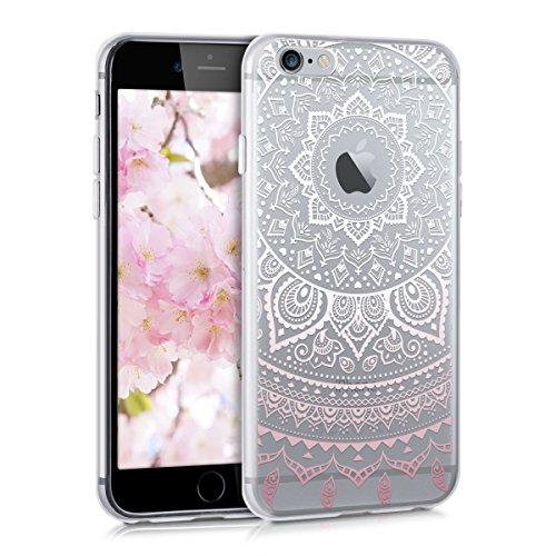 kwmobile Carcasa Compatible con Apple iPhone 6 / 6S - Funda de TPU y Sol hindú en Rosa Claro/Blanco/Transparente