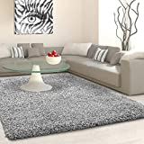 SHAGGY Rug Rugs Living Room Large Soft Touch 5cm Thick Pile Modern Bedroom Living Room Area Rugs Non Shed (Silver Light Grey, 120cm x 170cm (4ft x 6ft))