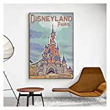 CCZWVH Disney Canvas Pintings Disneyland Paris Dibujos Animados Mickey Mouse Wall Art Fotos para la decoración de la Sala de Estar Cuadros 20x28 Inch Sin Marco