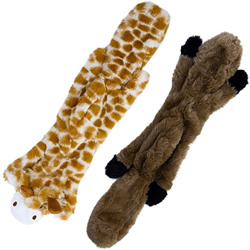 Toozey Hundespielzeuge Quitschend - Füllungsfreie Spielzeug für Hund und Plüschtierspielzeuge mit Füllung - Sicher&Ungiftig Kauspielzeug für Kleine und Mittel Hunde (Braun)
