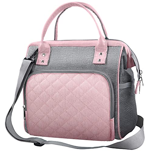 Lunch Bag Women Insulated Lunch Bag Lunch Box for Women Womens Lunch Bag Reusable Cooling and Hotling Lunch Bag Tote Organizer with Multi-Pocket and Adjustable Shoulder Strap for Work(Pink)
