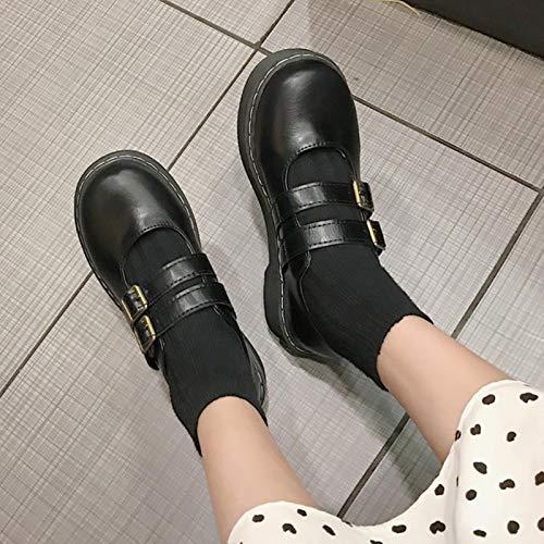 DQS Primavera otoño Mujer Zapatos Hebilla Zapatos Lolita Plataforma Negra en Planos Retro Zapatos Casuales Niñas
