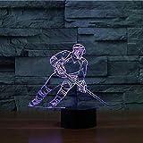 3D acrílico LED jugador de hockey lámpara de mesa USB luz de noche regalo decoración de deportes para dormir