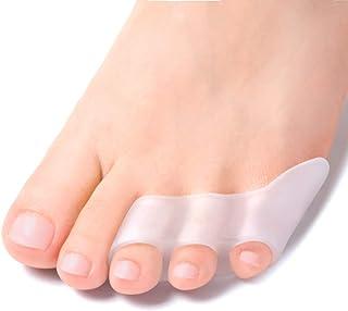 Welnove separador de dedos de gel para dedos de los pies, 3 agujeros separadores de dedos de gel para dedos de los pies rosados rizados, dedos superpuestos, ampollas, alivio del dolor de fricción