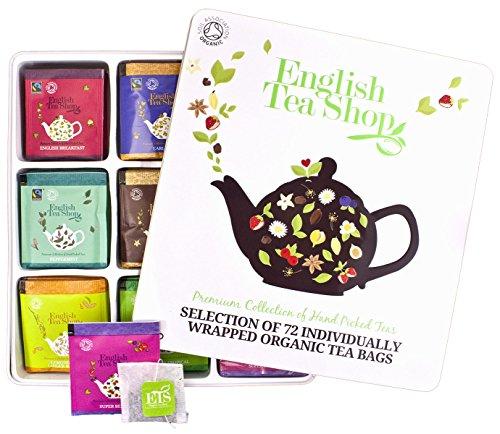 English Tea Shop - Teegeschenk in edler Metalldose - BIO-Tee-Kollektion mit 72 x original englischem Tee (9x8 ) - Geschenkidee - (DE-Version)