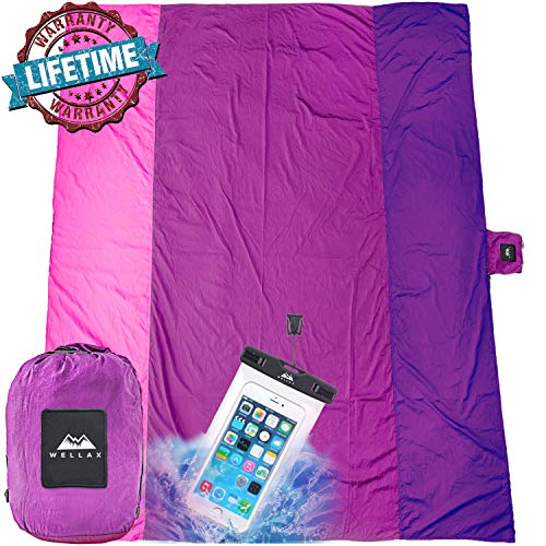 WELLAX Sandfree Beach Blanket - Huge Ground Cover 9' x 10' for 7 Adults - Best Sand Proof Picnic Mat for Travel, Camping, Hiking and Music Festivals - Durable Tarp with Corner Pockets (Pink)