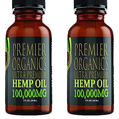 (2 Pack :: 100,000mg Each) Hemp Oil for Pain Relief Anxiety Relief Sleep Support :: Organic - Hemp Extract Supplement… from Premier Organics