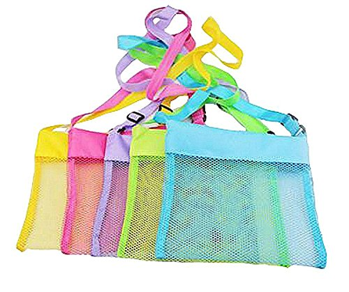 "TECH-P Colorful Mesh Beach Bags Sand Away Beach Treasures Seashell Bags Toy Storage Bag -5 PACK,7.9""X7.9"""