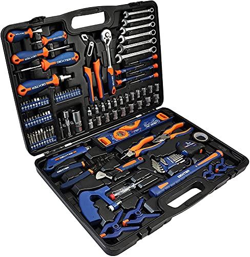 DEXTER - 108-teiliger Werkzeugkoffer - mit Zangen, Schlüssel, Schraubendreher, Metallsäge und vieles mehr - Werkzeugset - Werkzeugkoffe - Werkzeugkasten
