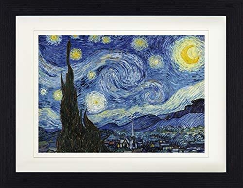 1art1 Vincent Van Gogh - Die Sternennacht, 1889 Gerahmtes Bild Mit Edlem Passepartout | Wand-Bilder | Kunstdruck Poster Im Bilderrahmen 40 x 30 cm