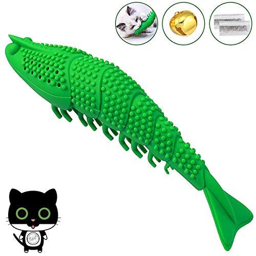 Enhal Katzen Zahnbürste | doppelt Katzenminze Spielzeug | Kauen Zahnreinigung Zahnpflege Gegen Mundgeruch | Gummi Futterspender Intelligenzspielzeug Haustier | Weiche Interaktive Spielsachen cat