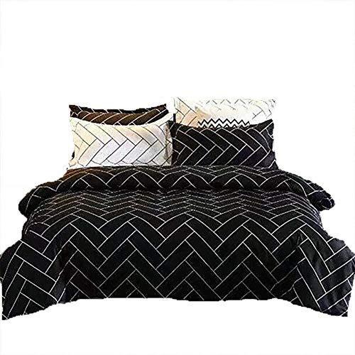 DC Wesley Duvet Cover Bedding Set Of 3, 2 X Pillowcase 1 X Quilt Strip Black And White Space Teen Single Double King Size Bed (Size : King-220x230cm)