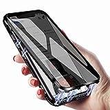 両面強化ガラス 覗き見防止iPhoneXS iPhoneX ガラスケース アルミ バンパー 表裏 前後 両面ガラス 360°全面保護 マグネット式 アイフォンXS アイフォンX カバー ガラス クリア 透明 全面ガラス ワイヤレス充電対応 (iPhoneX/XS, 黒)