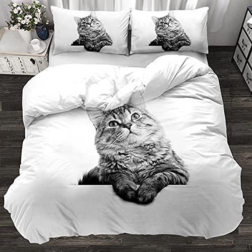 CNBISHENG Funda nordica Cama Lindo Dibujos Animados Animal Gato Super Rey: 260 cm x 220 cm Bedding Duvet Cover Set Juego de Funda nórdica de Microfibra Ligera de Microfibra