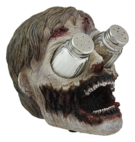 "Ebros Gory Eyeless Walking Dead Zombie Head Salt and Pepper Shakers Holder Figurine Set 7.25"" Long with Glass Shakers Zombie Apocalypse Fans"