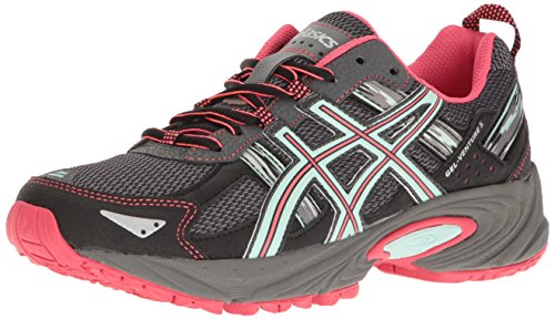 ASICS Women's Gel-Venture 5 Trail Runner, Carbon/Diva Pink/Bay, 8 M US