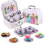 DQTYE Juego de té de lata y estuche de transporte para fiesta de princesa, juego de té de picnic para niños y niñas