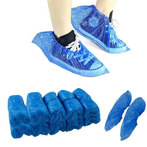 XYDDC 100Pcs Cubiertas de Zapatos Desechables Desechables de plástico Grueso Día lluvioso al Aire Libre Limpieza de alfombras Cubierta de Zapatos Cubiertas de Zapatos Impermeables Azules
