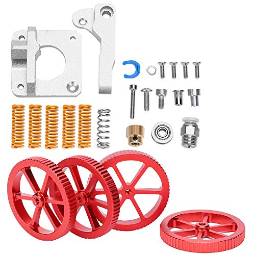 bizofft 3D Printer Extruder Upgrade Kit, 3D Printer Accessories, Strong And Durable Red Hand Twist Leveling Nut + Springs Dampers Set for 3D Printer fo DIY Lovers