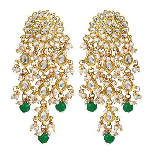 Aheli Kundan - Pendientes clásicos de araña con cuentas para mujeres y niñas, joyería tradicional india Bollywood verde