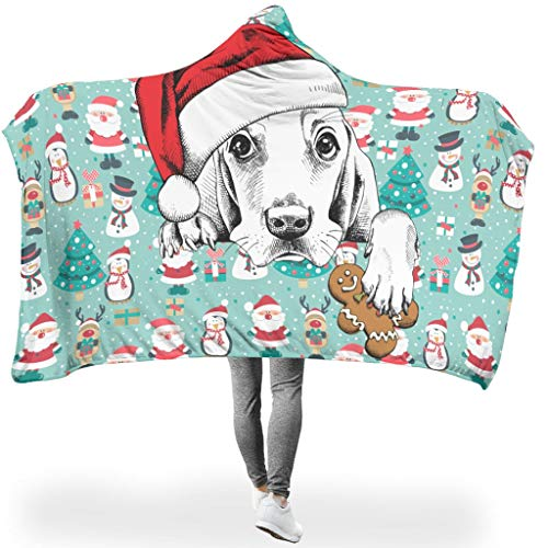 RQPPY Christmas Animal Happy Wohndecke Warme Microplush Lightweight Therma Reversible Warm Washable Decke White 130x150cm