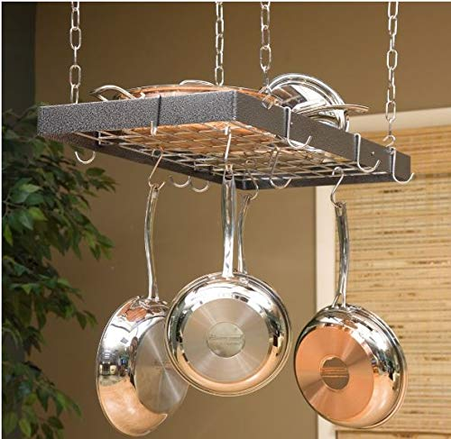 Rogar Hammered Steel Rectangular Pot Rack with Grid and Chrome Accessories 30-in