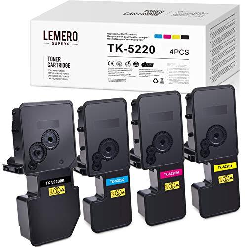 4 LEMERO SUPERX Toner Kompatibel für Kyocera TK-5220 TK 5220 für Kyocera ECOSYS P5021cdn P5021cdw M5521cdn M5521cdw (Schwarz/Cyan/Magenta/Gelb)