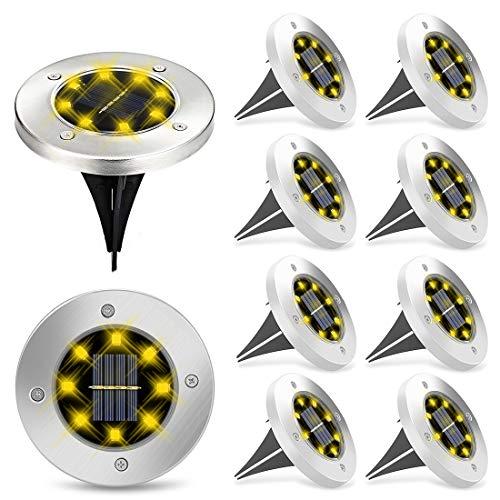 Aenamer Solar Bodenleuchten, 10 Stück Gartenleuchten 8 LEDs Solarleuchten für Außen, IP65 Wasserdicht Garten Solarlampen für Lawn Patio Hof Rasen
