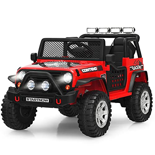 Costzon Kids Ride on Truck, 12V Battery Powered Electric Vehicle w/ 2.4G Remote Control, 2 Speeds, Spring Suspension, LED Light, Horn, Music/ MP3/ Radio, 2 Doors Open, Ride on Car for Kids (Red)